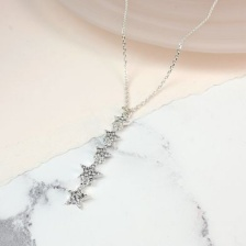 Silver Plated Crystal Multi Star Drop Necklace by Peace of Mind